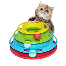 1PC Play Disc Trilaminar Turntable Toys Pet Supplies Funny Pet Toys Cat Crazy Ball Disk Interactive Amusement Plate(China)
