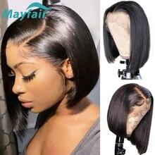 Mayfair pelucas de cabello humano liso Bob corto encaje frontal para mujeres negras, extensiones de cabello brasileño no Remy, pelucas de encaje suizo