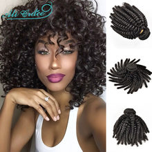 Ali Grace Bouncy Curly Hair Bundles 1/3/4 Pcs Brazilian Remy Human Hair Weave Extensions Curly Hair Weave Bundles Natural Color(China)