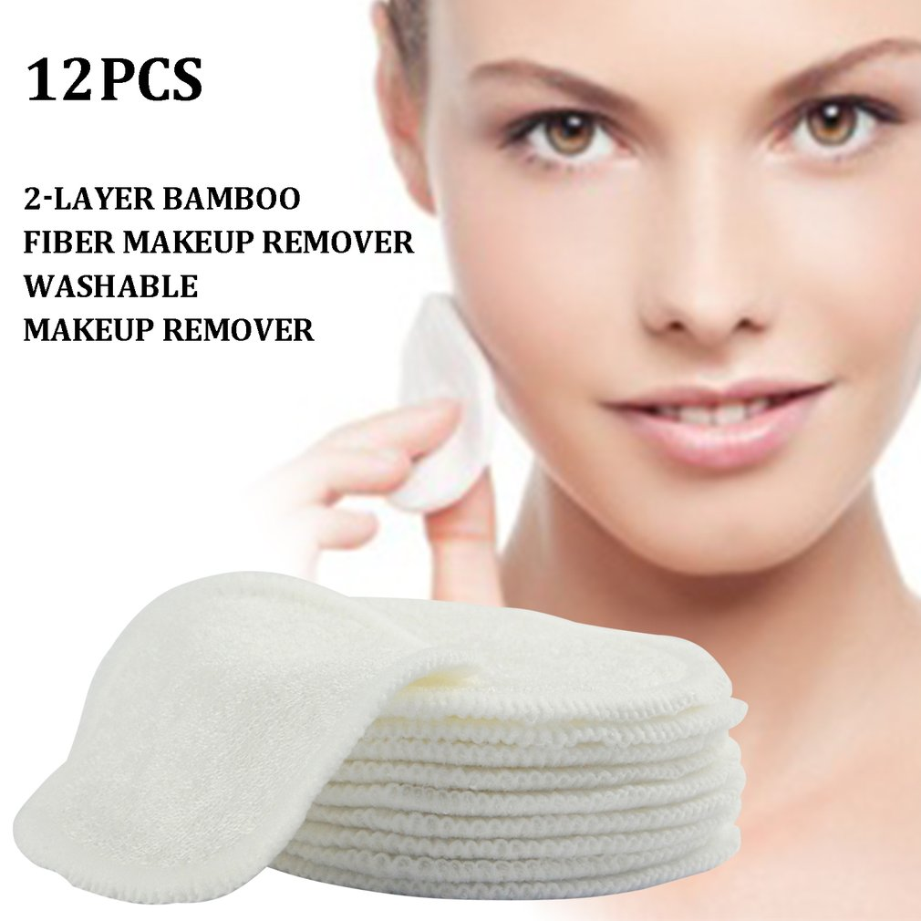 Make Up Remover Pads Reusable Washable Cleaning Cotton Make-Up Wipes Three Layers Soft Bamboo With Mesh Wash Bag