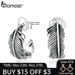 bamoer 925 Sterling Silver Jewelry Dazzling Light Feather Stud Earrings for Women Girls Gift Statement Jewelry earring SCE923