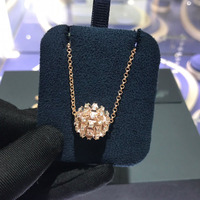 UMGODLY Copper Rose Gold Color Spikes Pendant Adjustable Hedgehog Ball Necklace Pave Green Zircon Women Brand Jewelry