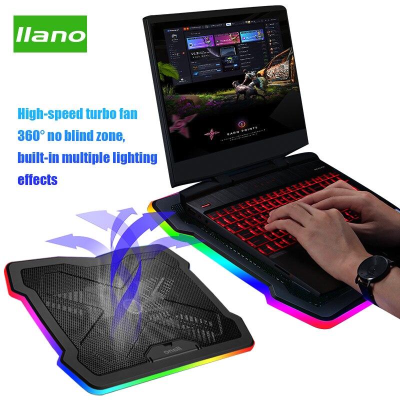 Llano ordinateur portable refroidisseur tampon de refroidissement Base vitesse du vent/hauteur réglable rvb éclairage ordinateur portable radiateur pour ordinateurs portables jusqu'à 22 pouces