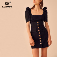 ROHOPO Double Layer Puff Sleeve Square Collar Straight Black Dress Buttons Fly Side Pockets Chic Slimy Solid Mini Robe #8095