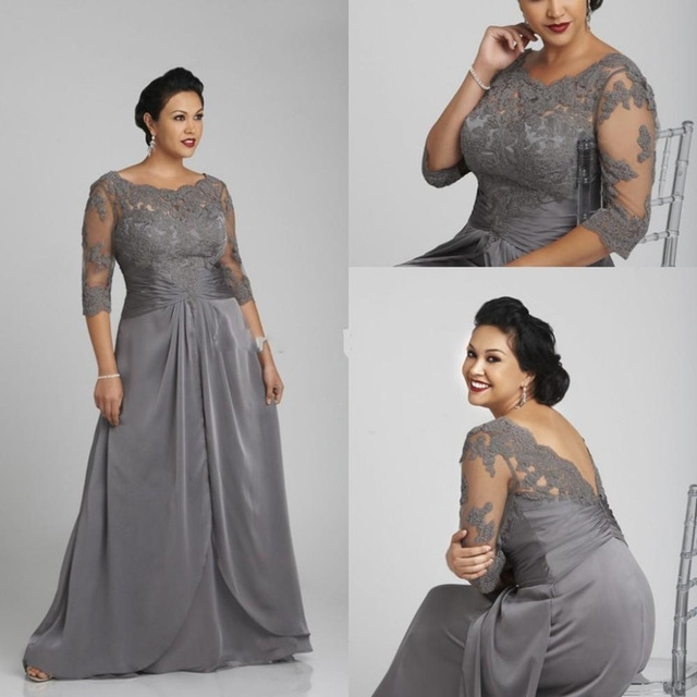 Gray Mother Of The Bride Dresses A-line 3/4 Sleeves Chiffon Appliques Plus Size Long Groom Mother Dresses For Wedding