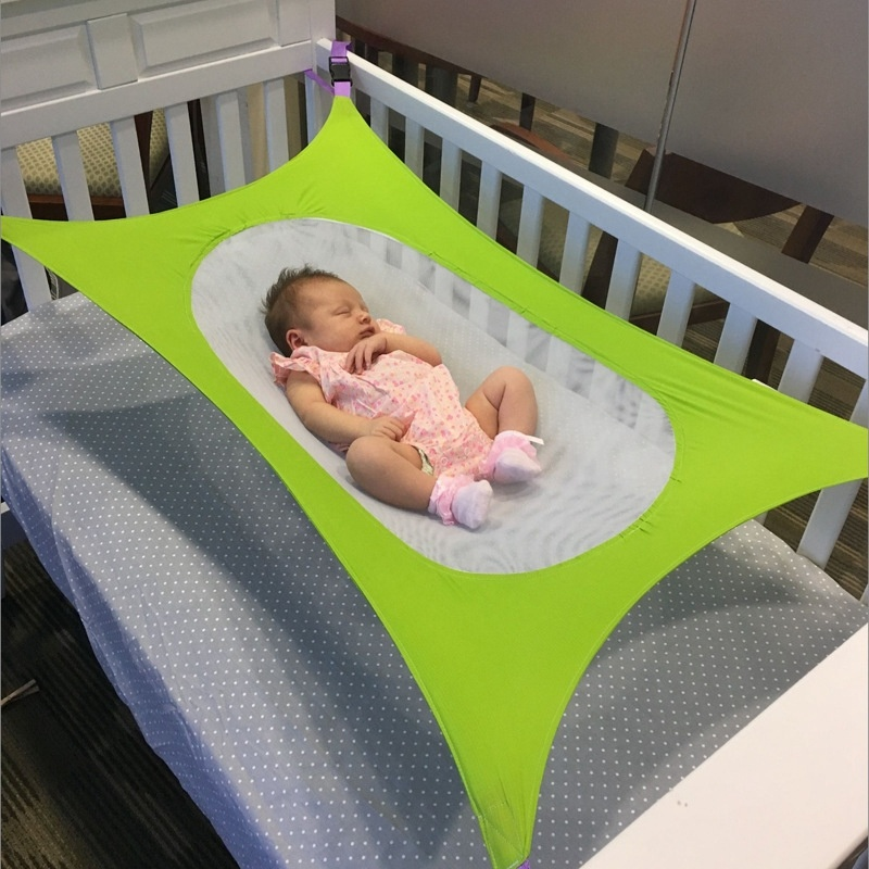 H1134431e2812452cbbcef5103f38d428n Infant Baby Hammock For Newborn Kid Sleeping Bed Safe Detachable Baby Cot Crib Elastic Hammock With Adjustable Net Portable
