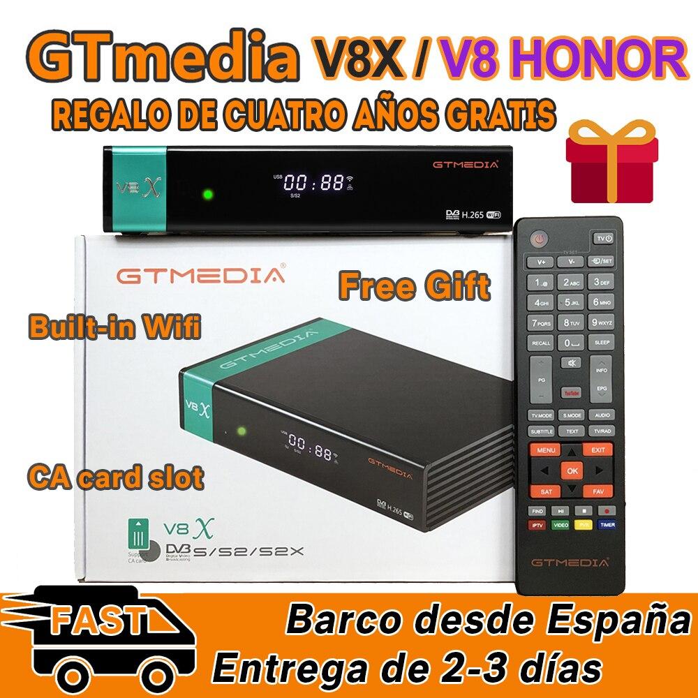 GTMedia V8X 1080P Full HD DVB-S/S2/S2X-цифра спутниковый телевизионный ресивер Поддержка PowerVu Bisskey H.265 Встроенный Wi-Fi обновление V8 Nova