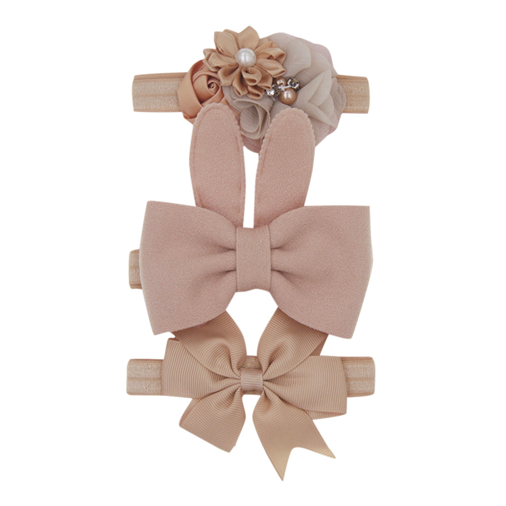 New 3pcs/lot Kids <font><b>Baby</b></font> <font><b>Girls</b></font> Floral Headband Chiffon Ribbon Bowknot <font><b>Hair</b></font> <font><b>Accessories</b></font> Hairband <font><b>Set</b></font> Elastic Children Kids Headwear image