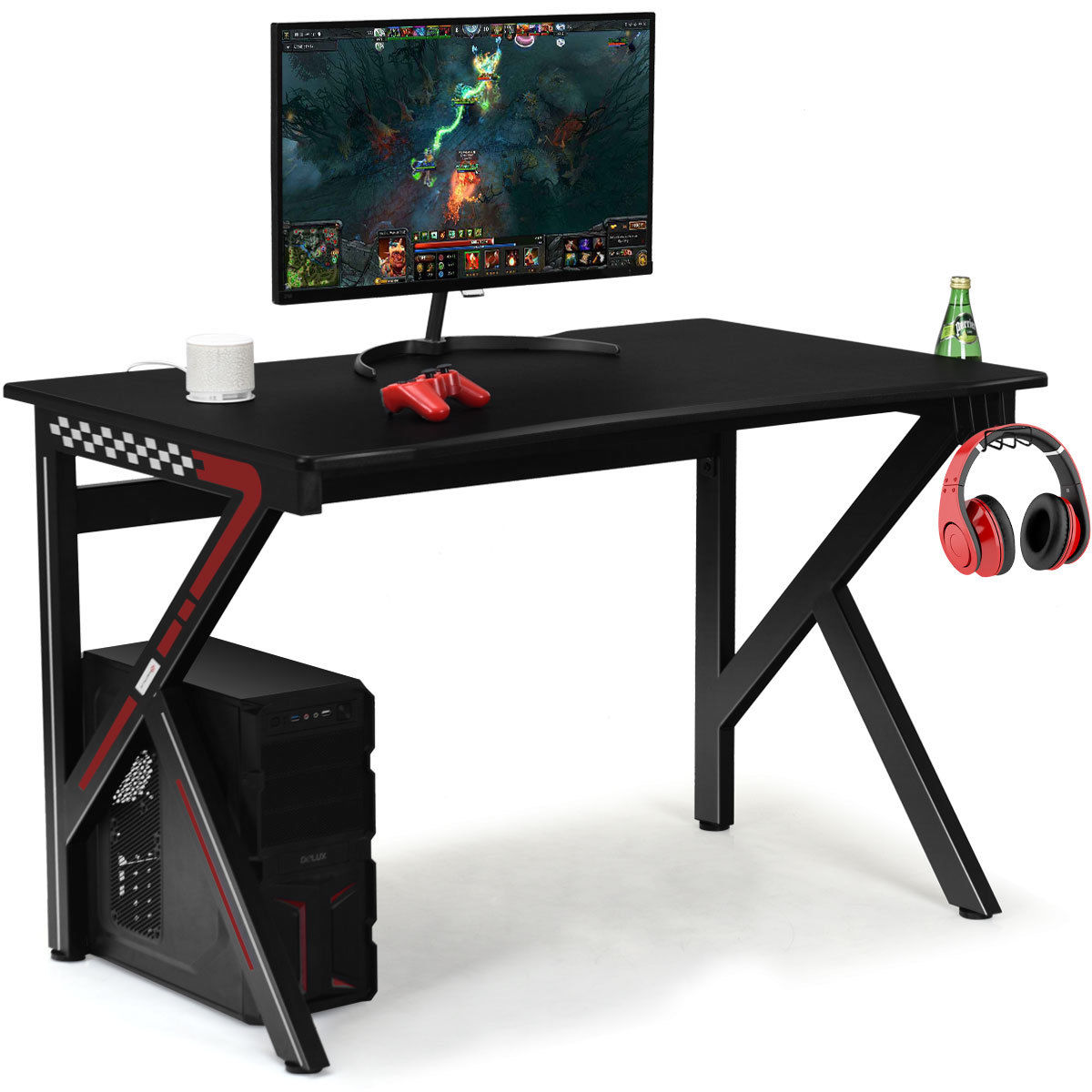 Mordern Bedroom Gaming Laptop Desk Gamers Computer Table E-Sports K-Shaped With Cup Holder Hook Home Office Furniture HW60238