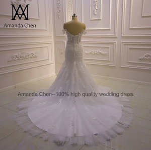 Image 5 - באיכות גבוהה תפור לפי מידה כבוי כתף בת ים Sheer חתונה שמלה