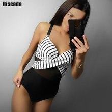 Riseado Sexy Mesh One Piece Swimsuit 2020 New Swimwear Women Striped Print Bathers Push Up Beach Wear Warp Bathing Suits XXL