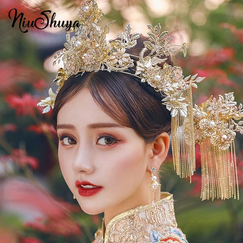 NiuShuya Luxurious Retro Chinese Wedding  Costume Hair Accessories Bride Phoenix Headdress Long Tassel Hairwear Accessories