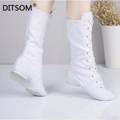 Canvas High Dance Boots For Dance Studios Lace-up Jazz Street Dance Boot Gym Yoga Fitness Karate Shoes Dancing Sneakers Women 45