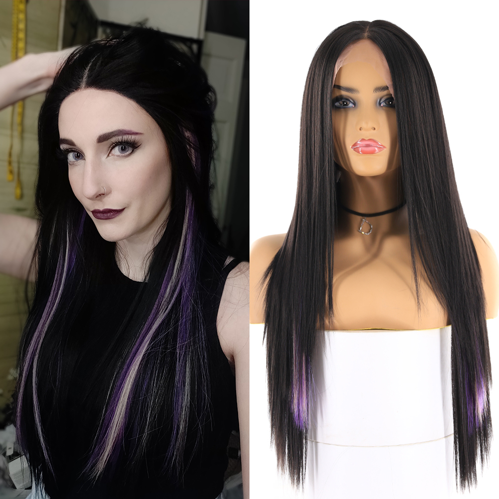 Long Straight Synthetic Womens Wigs Black Purple Yaki Straight Lace Front Hair Wig Middle Part Heat Resistant Fiber Wigs X-TRESS