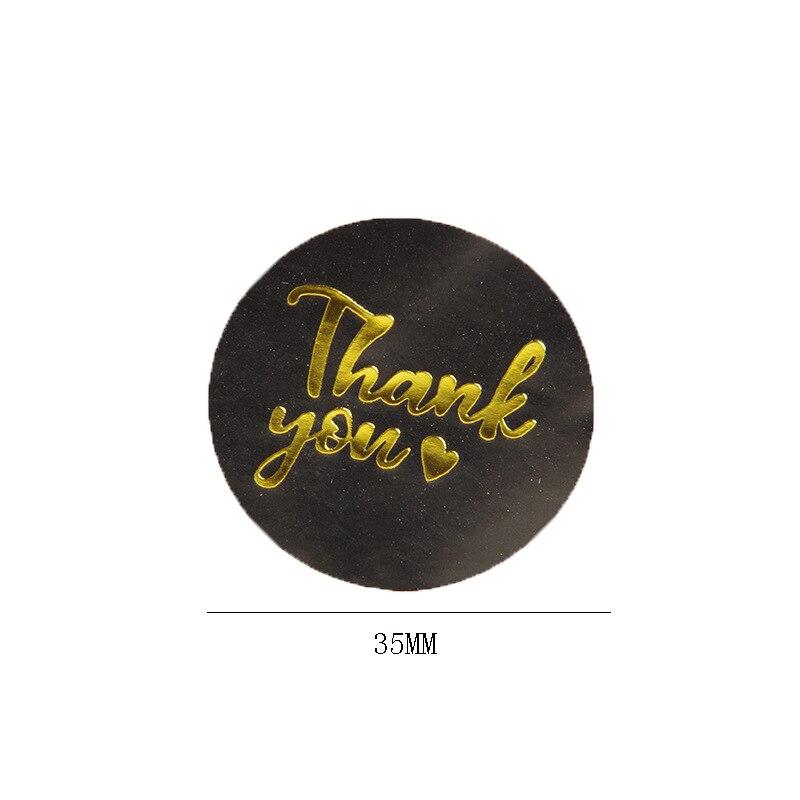 1000 pçs bronzing obrigado você adesivos preto