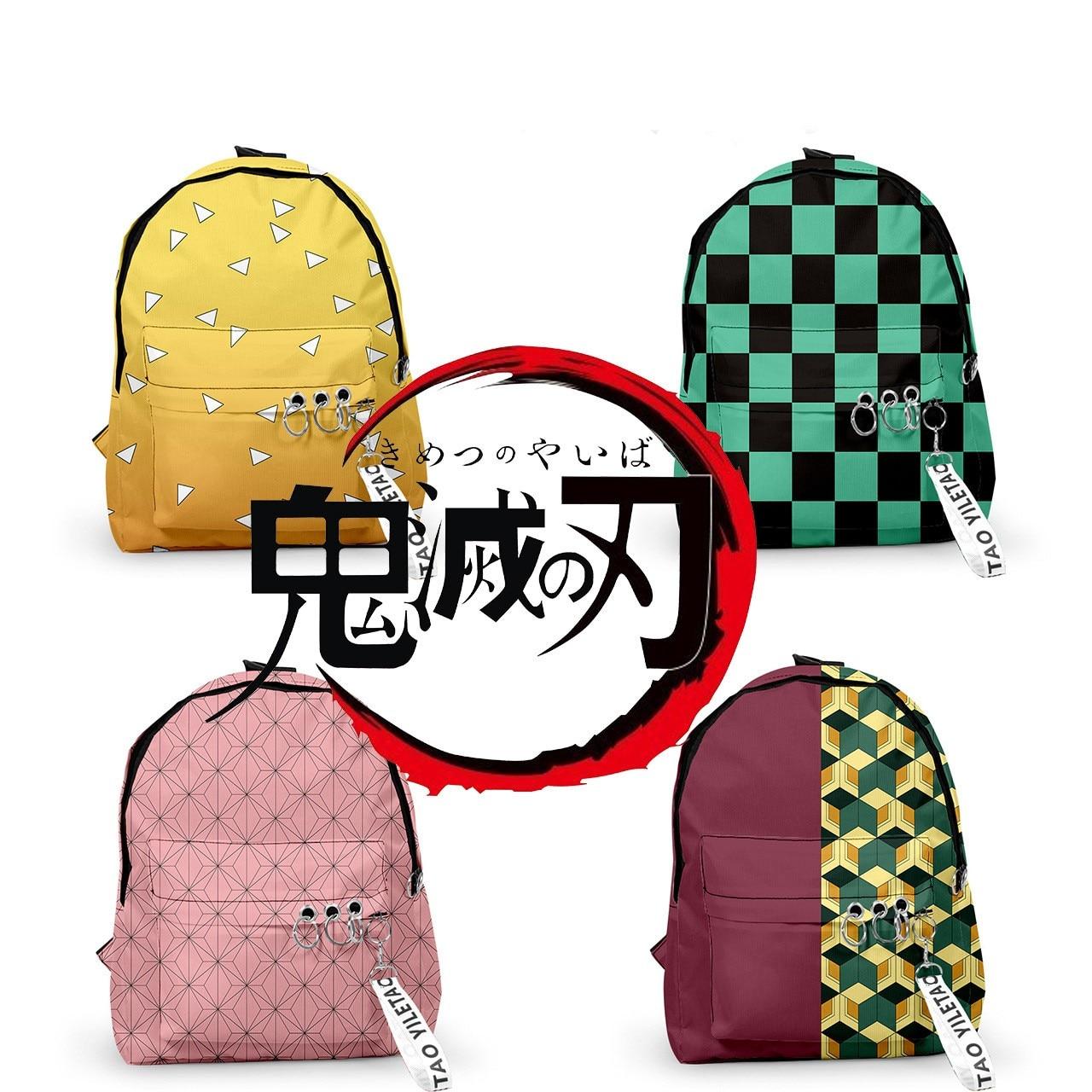 Cartoon Anime Demon Slayer Kimetsu No Yaiba Cosplay Student School Backpack Fashion Travel Knapsack Shoulder Bag Satchel Package