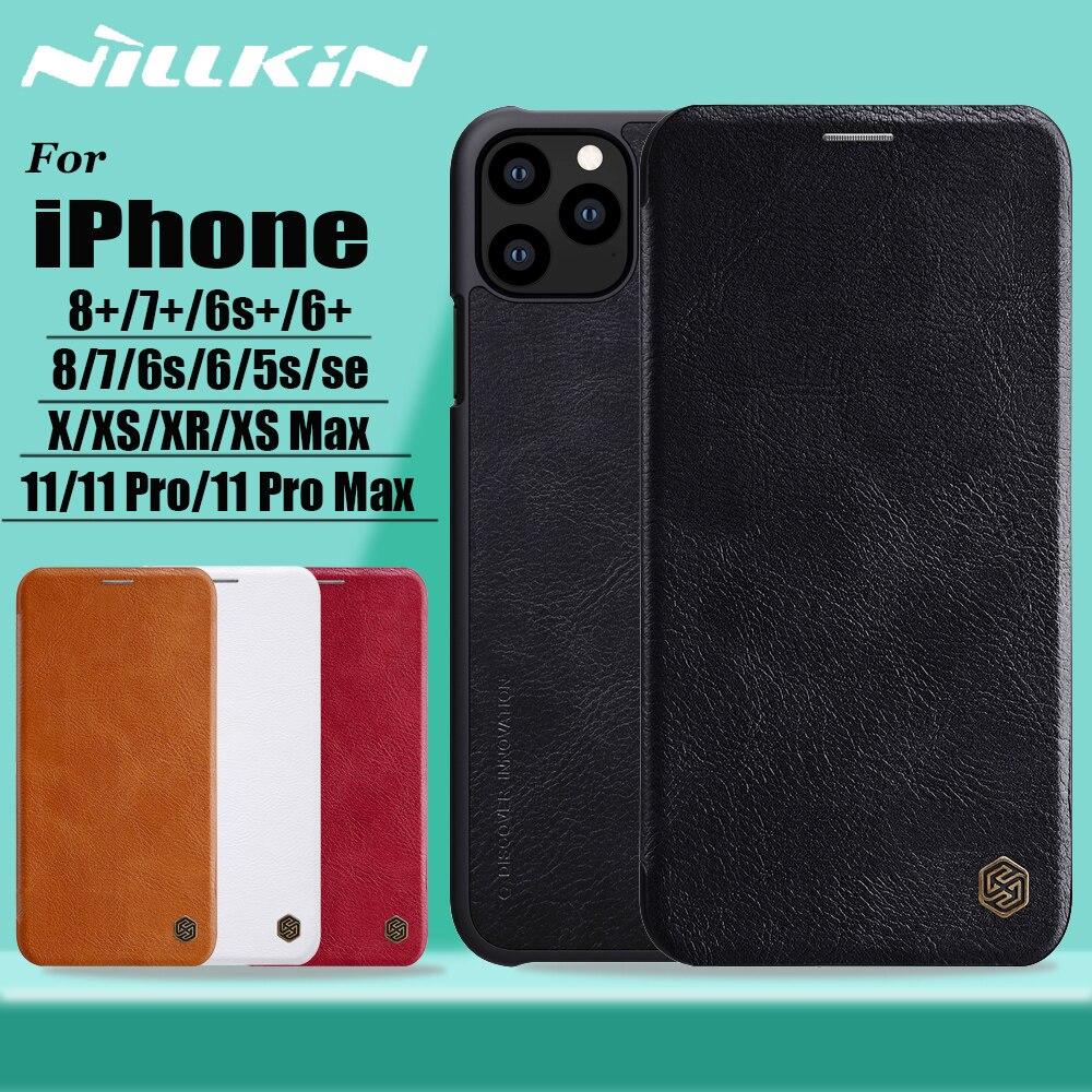 Nillkin para iphone 11 pro max x xs xr 8 7 caso capa genuína couro do plutônio capa completa caso da aleta para o iphone 8 7 6s 6 plus 5S se capa