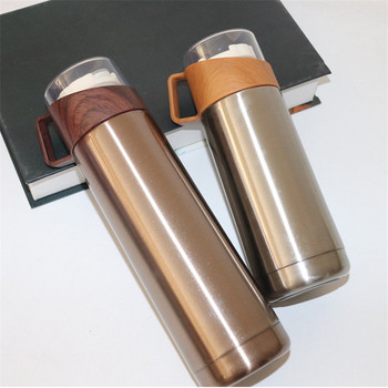 New 350ml/500ml Vacuum Flasks Protable Vacuum Water Bottle 304stainless steel Thermos Cup Wood Grain Jazz Drinking Cap 3