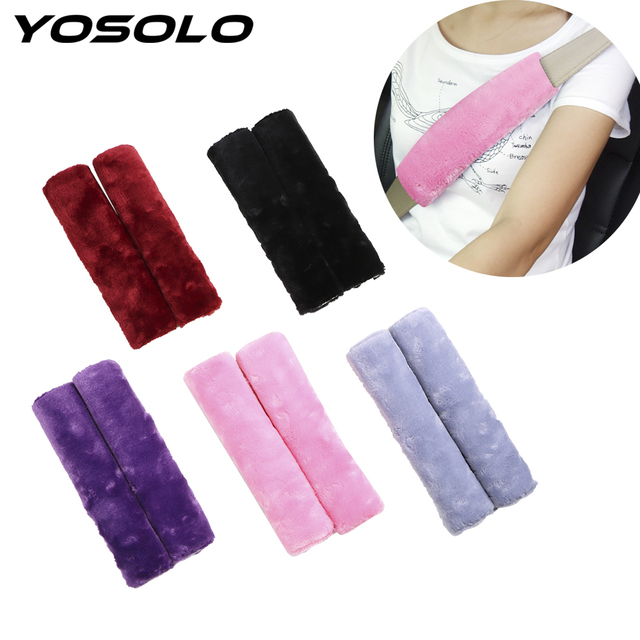 YOSOLO 2 peice/סט רך קטיפה מושב חגורת כיסוי כתף כרית כתף רצועת מקרה נוח נהיגה רכב חגורת בטיחות