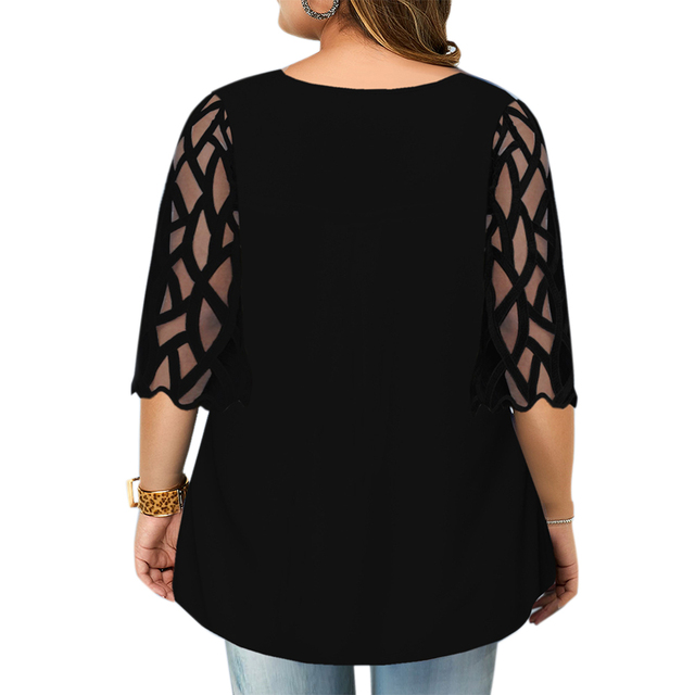 beautiful geometric sleeve button top blouse 2