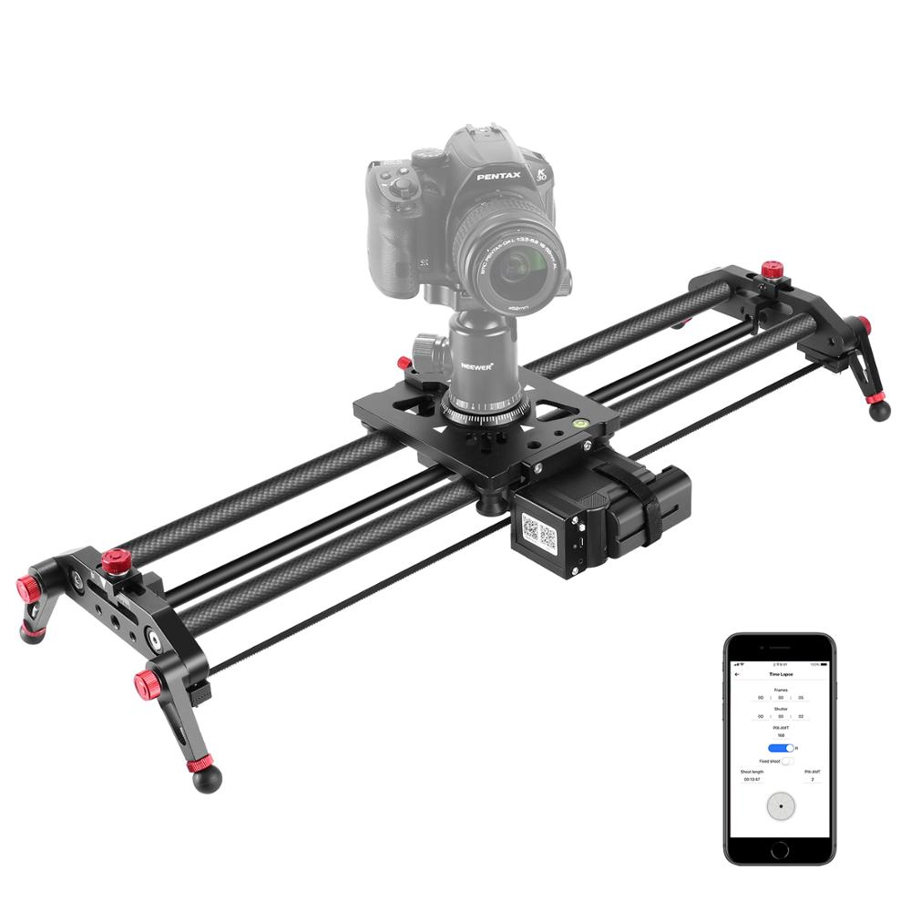 Neewer Camera Slider Motorized, 31.5-inch APP Control Carbon Fiber Track Dolly Rail With Mute Motor/Time Lapse Video Shot/Follow