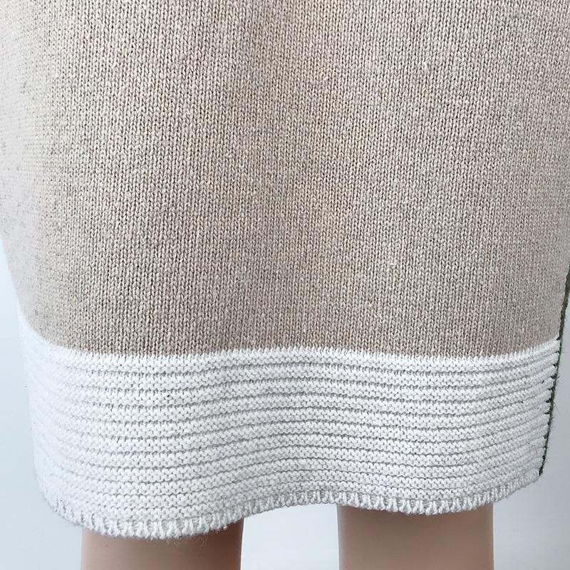 2020 Women knitted cardigan geometric stitching vintage long women sweater warm autumn winter loose cardigan coat female DR2246 (8)