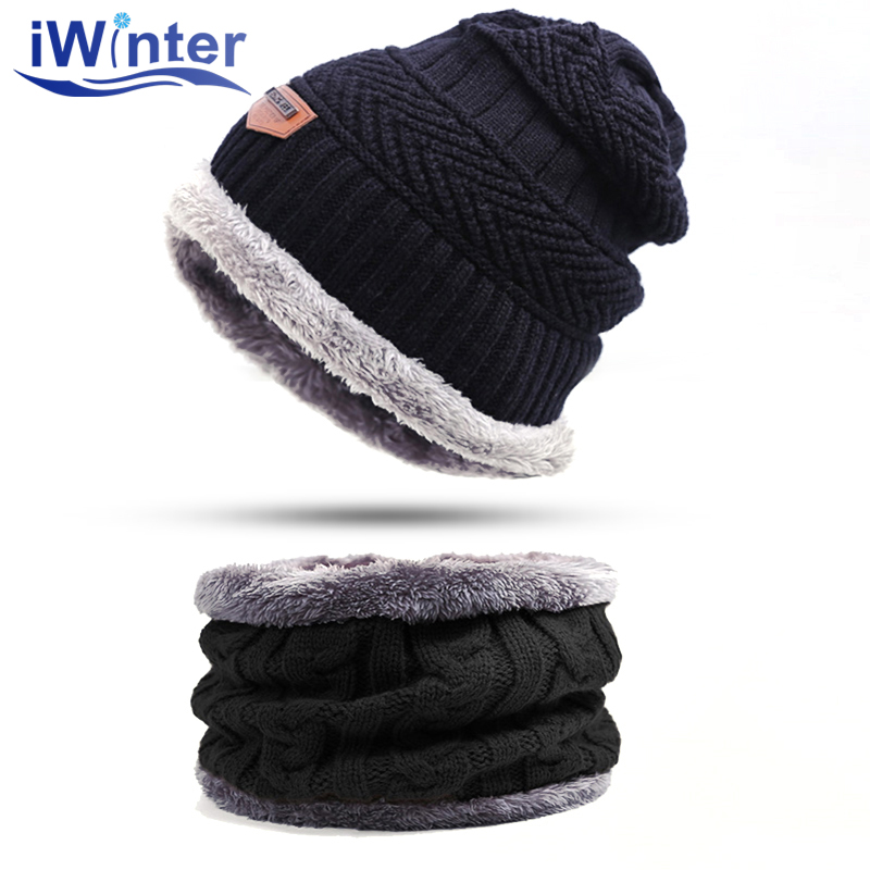IWINTER Fashion Men Warm Winter Hat Scarf Soft Knitted Hat Scarf Set Skullies Beanies Winter Hat For Women Unisex Knitted Caps