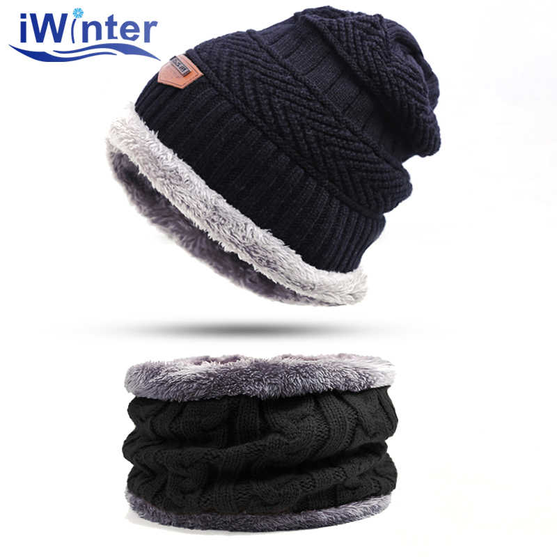 IWINTER Mode Männer Warme Winter Hut Schal Weiche Strick Hut Schal Set Skullies Mützen Winter Hut Für Frauen Unisex Gestrickte kappen