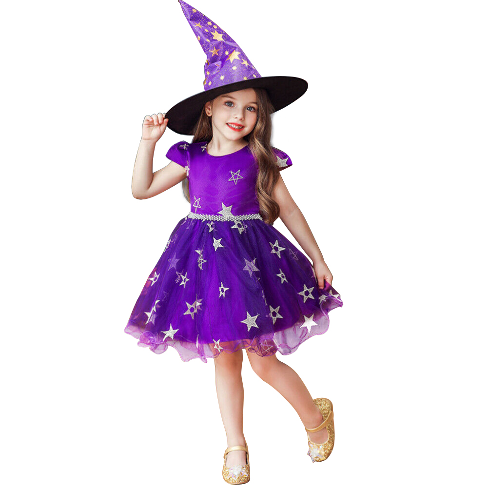 Hat Dress Halloween-Costume Xmas Witchery Toddler Girls Purple Kids Party Novelty New