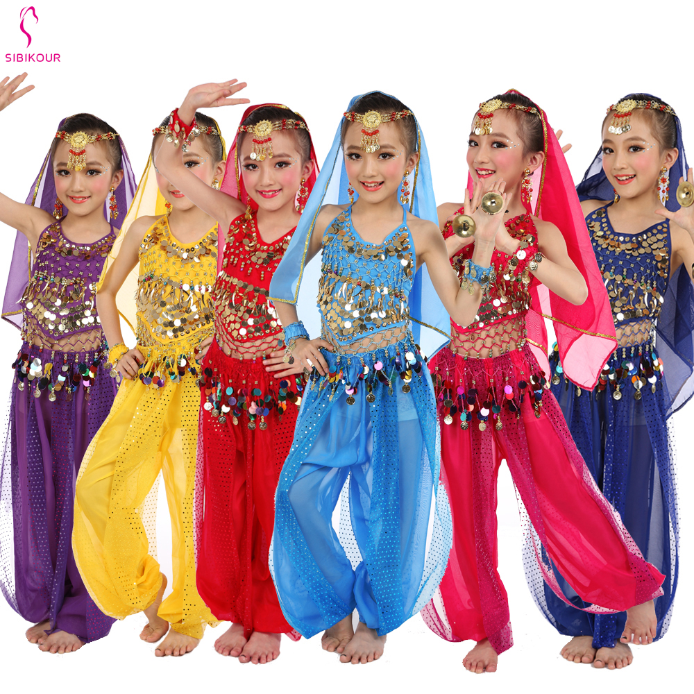 Kids Belly Dance Costumes Set Oriental Dance Costumes Girls Bellydance Egyptian Child Bollywood Indian Belly Dancing Clothing