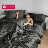 Sondeson Home Textile Women 100% Silk Dark Gray Bedding Set Beauty Queen King Duvet Cover Sets Bed Sheet Fitted Sheet Pillowcase