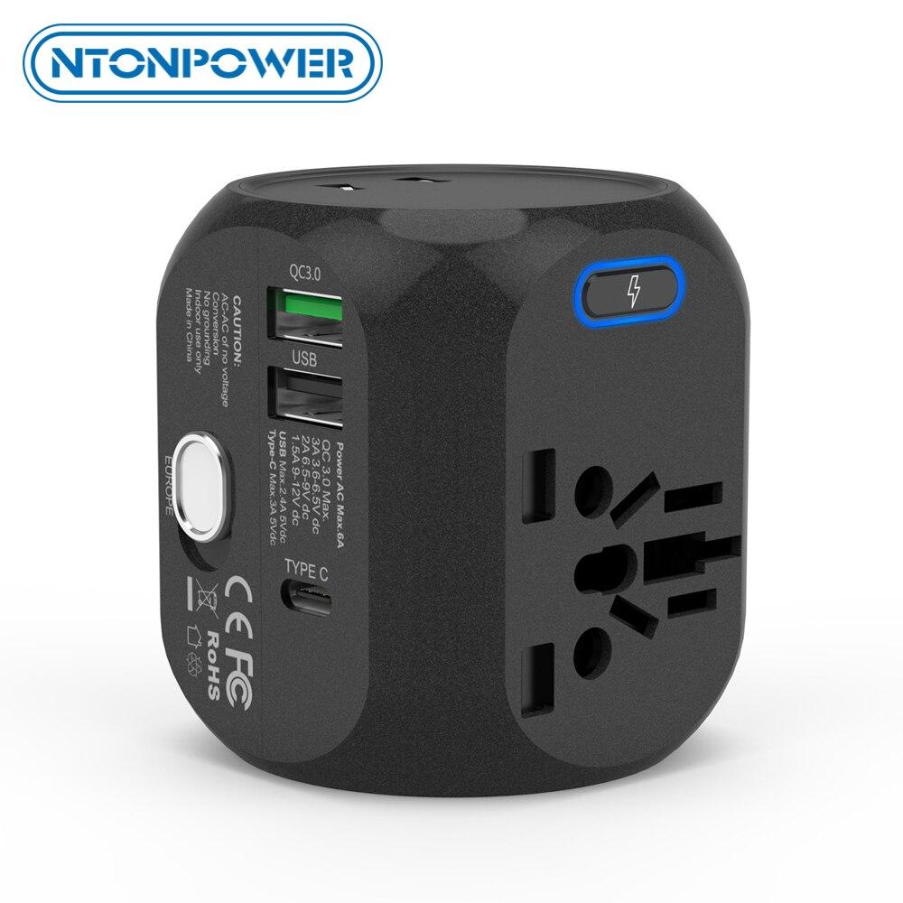 Ntonpower adaptador universal tudo-em-um adaptador de tomada de viagem internacional com tipo-c qc3.0 carregador de parede para eua/ue/au/uk