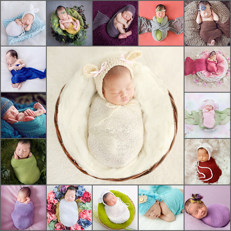 Baby Newborn Photography Props Blanket Kid Wrap Swaddling  Flokati Fotografia Accessories Stretchable Wraps Photo Shoot Backdrop
