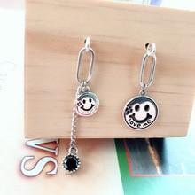 Korean Version of S925 Sterling Silver Smiley Earrings Asymmetric Diamond Tassel Ladies Vintage Distressed
