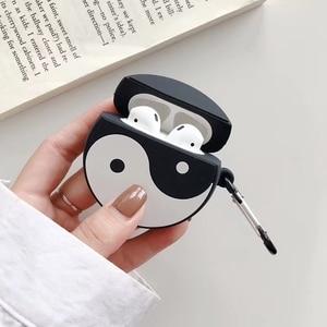 Image 4 - Per Apple Caso AirPods 3D Cute Cartoon Divertente Taiji Treno Drago Nero di Carbone Palla Senza Fili del Trasduttore Auricolare Earpods Copertura per Airpods 2