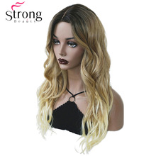 Ombre Wigs Wig-Hair Highlights Natural-Long Synthetic Brown/blonde Women's Wavy Strongbeauty