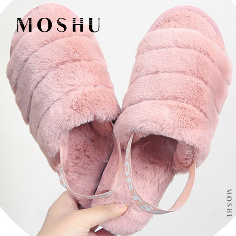 Fluffy Slippers Flip-Flops Flat Sandals Indoor Shoes Winter Women Home Warm Mujer Fur Slides