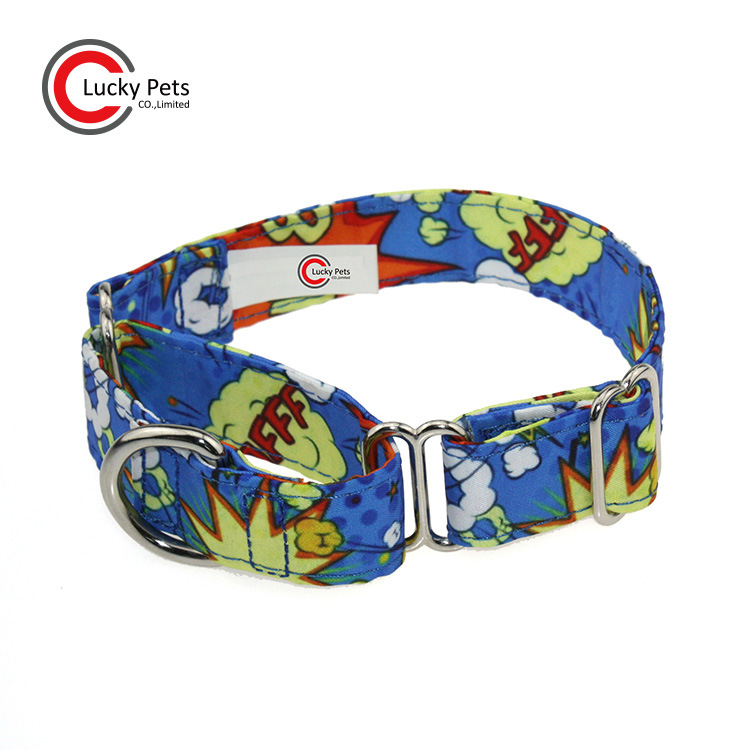 New Style Pet Supplies Customizable Decorative Pattern Thermal Transfer Flower Dog Canvas Neck Ring Greyhound Pet Collar Wide
