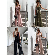 Leosoxs 2021 Summer Fashion New Bodycon Casual Women Jumpsuits Sexy Deep V Neck Sleeveless Belt Loose Wide Leg Ladies Jumpsuits