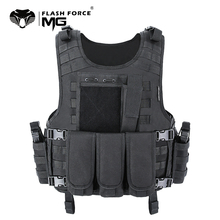 MGFLASHFORCE Molle Airsoft Vest Tactical Vest Plate Carrier Swat Fishing Hunting Paintball Vest Military Army Armor Police Vest