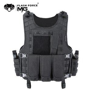 Image 1 - Mgflash force مول Airsoft سترة التكتيكية الصدرية لوحة الناقل Swat الصيد سترة صيد الجيش العسكرية درع الشرطة سترة