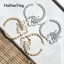New Gold Rhinestone Big Scorpion Earrings Rock Punk Big Circle Earrings for Women Fashion Jewelry Party Gifts