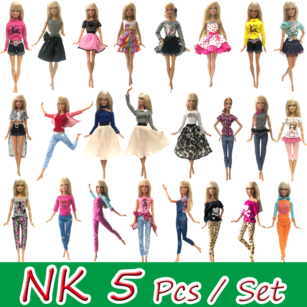 NK Mix Style 5 Pcs / Lot Doll Dress Super Beautiful Clothing Fashion Casual Wear Clothes For Barbie Doll Accessories DIY Toys JJ