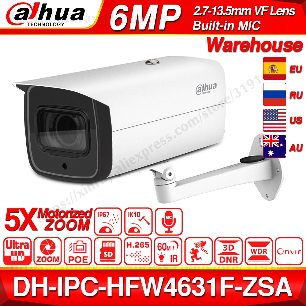 Dahua 6MP POE IP Camera IPC-HFW4631F-ZSA 2.7~13.5mm 5X Zoom VF Lens Bullet 60M IR Micro SD Card Slot Audio IP67 IK10