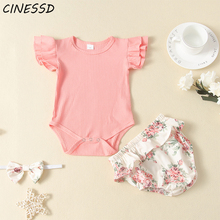 Summer Baby Girl Clothes 2020 Toddler Kids Solid Tops T-shirt+Floral Shorts 2Pcs Children Girls Casual Clothing Suit 0-24M summer baby toddler girl clothes t shirt skirts kids clothes sports suit for girls clothes 2pcs set children clothing 3 7 year