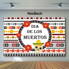 NeoBack Day of The Dead Backdrop Fake Flower Stripe Skull Photography Background Dia DE Los Muertos Party Backdrops