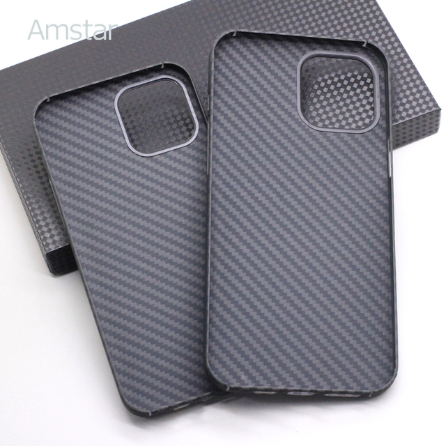 Amstar Real Carbon Fiber Phone Case for iPhone 12 Pro Max Ultra Thin Anti-fall Carbon Fiber Hard Cover Cases for iPhone 12 Mini 2