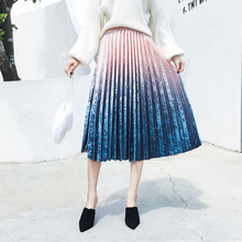 Pleated Velvet Skirt Women Midi Shinny Gradient Long A Line Tie Dye Autumn Auyumn Sweet Elegant