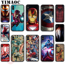 YIMAOC Super Charming Marvel Avengers Heroes Soft Silicone Case for iPhone 11 Pro XR X XS Max 8 7 6 Plus 5 5S SE 7Plus 8Plus