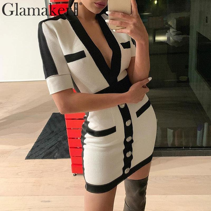 Glamaker Striped Short Sweater White Dress Autumn Deep V Neck Knitted Sexy Bodycon Dress Elegant Party Club Night Dress Fashion